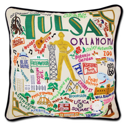 Tulsa Hand-Embroidered Pillow