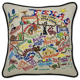 State of Texas Hand-Embroidered Pillow