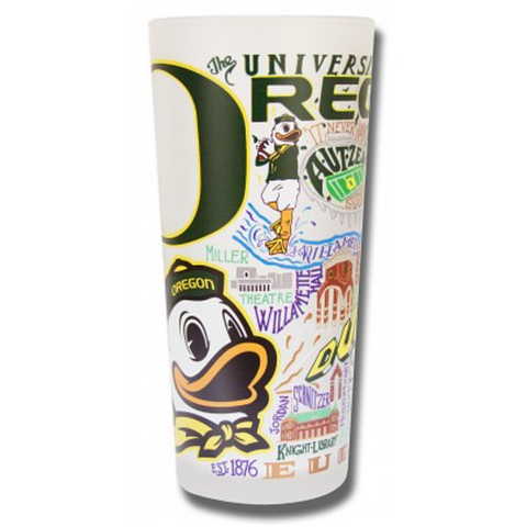 University of Oregon Collegiate Frosted Glass Tumbler