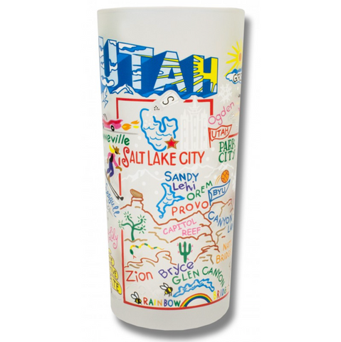 State of Utah Frosted Glass Tumbler
