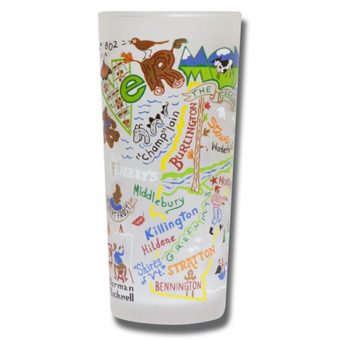 State of Vermont Frosted Glass Tumbler