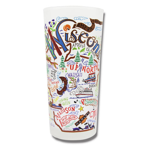 State of Wisconsin Frosted Glass Tumbler