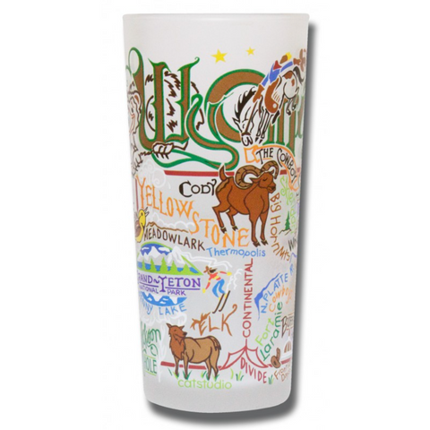State of Wyoming Frosted Glass Tumbler