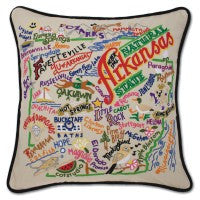 State of Arkansas Hand-Embroidered Pillow