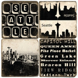 Seattle B&W Drink Coasters