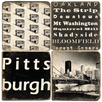 Pittsburgh B&W Drink Coasters