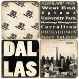 Dallas B&W Drink Coasters