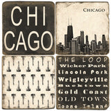 Chicago B&W Drink Coasters