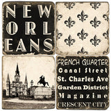 New Orleans B&W Drink Coasters