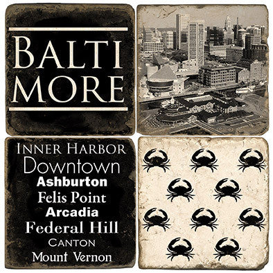 Baltimore B&W Drink Coasters
