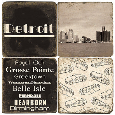 Detroit B&W Drink Coasters