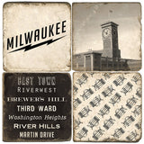 Milwaukee B&W Drink Coasters