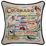 State of Colorado Hand-Embroidered Pillow