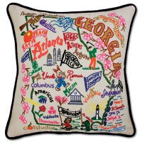 State of Georgia Hand-Embroidered Pillow