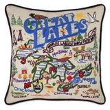 Great Lakes Hand-Embroidered Pillow