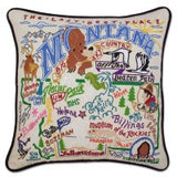 State of Montana Hand-Embroidered Pillow