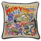 State of New York Hand-Embroidered Pillow