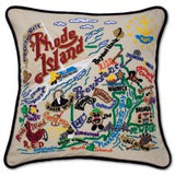 State of Rhode Island Hand-Embroidered Pillow