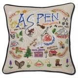 Ski Aspen Hand-Embroidered Pillow