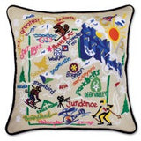 Ski Utah Hand-Embroidered Pillow