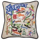 Ski Vermont Hand-Embroidered Pillow
