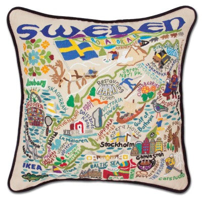 Sweden Hand-Embroidered Pillow