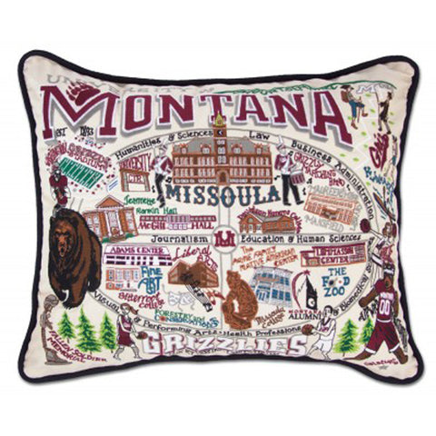 University of Montana Collegiate Embroidered Pillow
