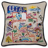 State of Utah Hand-Embroidered Pillow