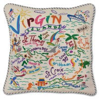 Virgin Islands Hand-Embroidered Pillow