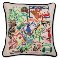State of West Virginia Hand-Embroidered Pillow