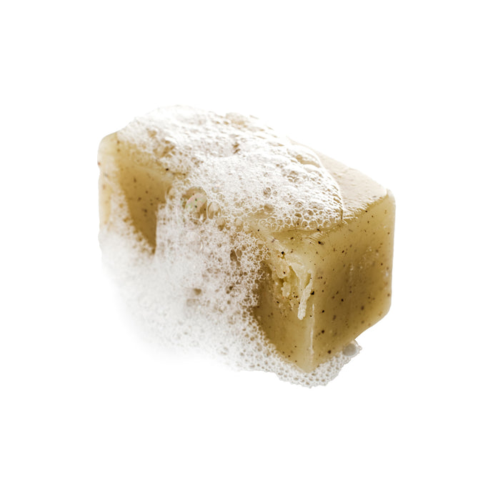 Deodorizing Minty Yerba Maté Tea Soap with crushed Apricot Seeds