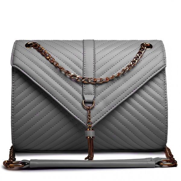 QUILTED CHAIN SHOULDER BAG GREY