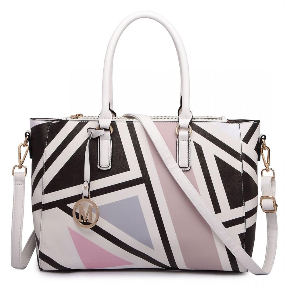 DIGITAL PRINT HANDBAG BLACK