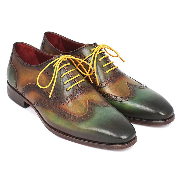 Paul Parkman Men's Wintip Oxfords Green Handpainted Calfskin (ID#228-GRN)