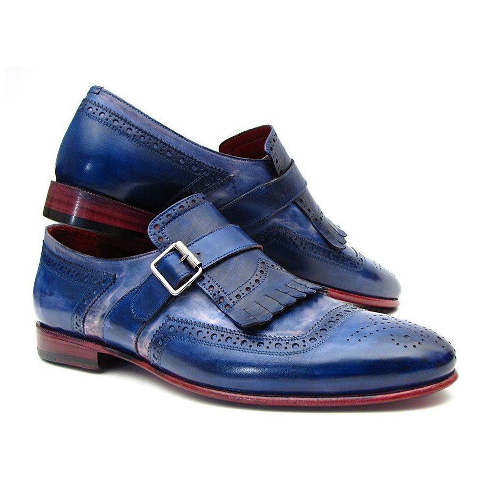 Kiltie Monkstrap Shoes Dual Tone Blue Leather