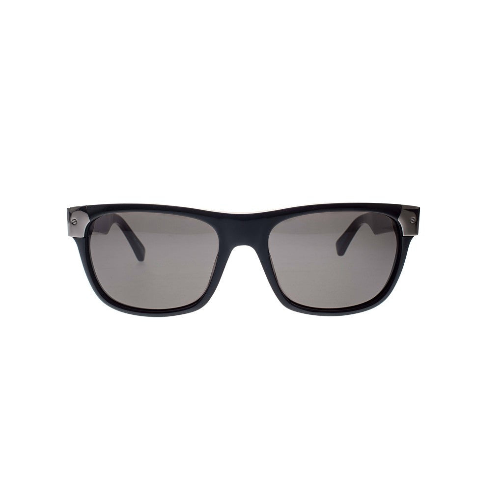 Black with Gun Silver Metal Wayfarers Sunglasses