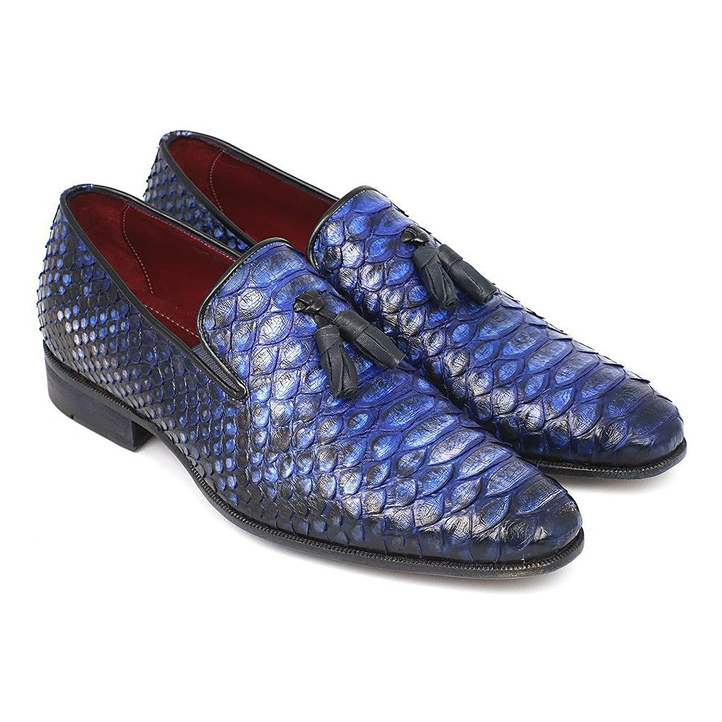 Mens Blue Genuine Python Tassel Loafers