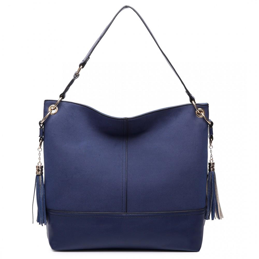 LEATHER TASSEL SLOUCH HOBO BAG NAVY