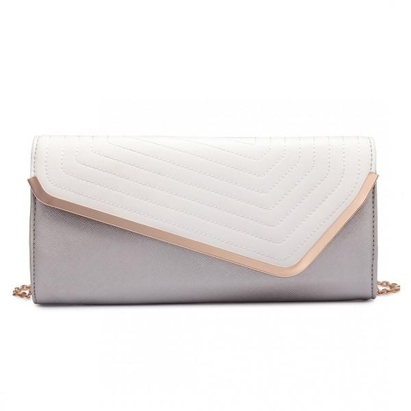 QUILTED ENVELOPE CLUTCH BAG SILVERY WHITE