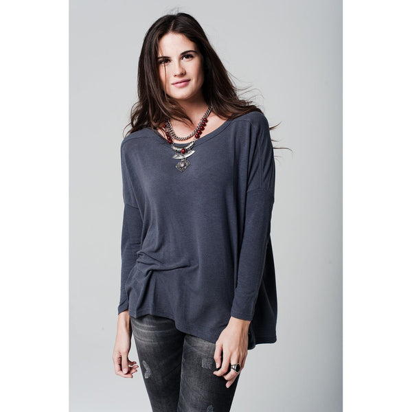 Grey soft jersey with asymmetric hem