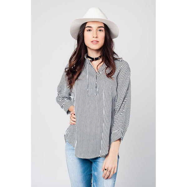 Dark blue stripes 3/4 sleeves blouse with asymetric hem