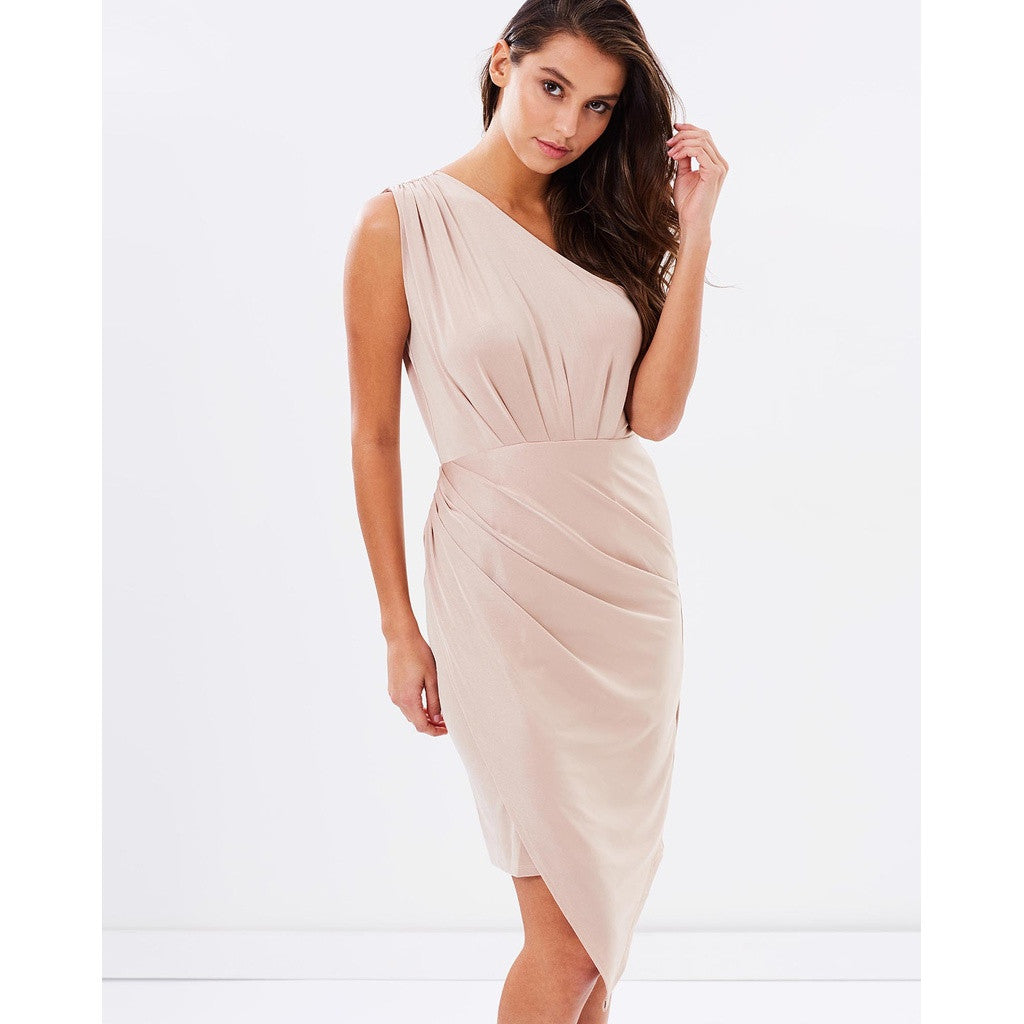 One Shoulder Asymmetrical Dress - Gold