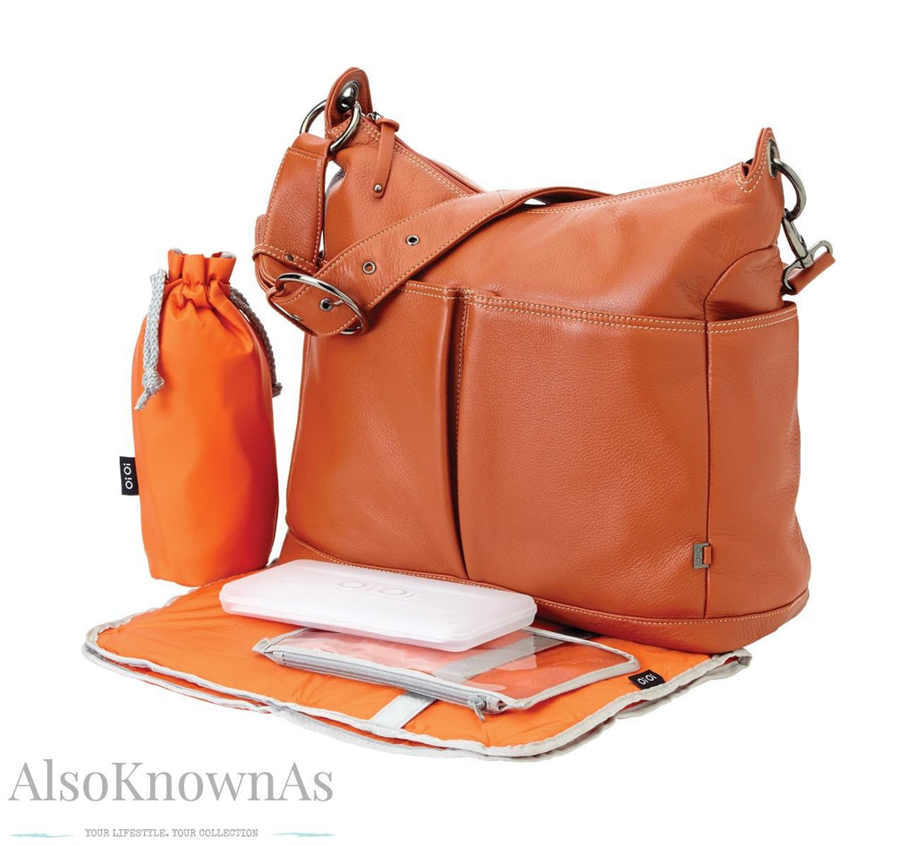 Nappy Bag Orange Ochre Leather 2-Pk Hobo