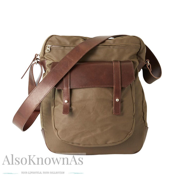 Canvas Leather Upright Leather Man Satchel