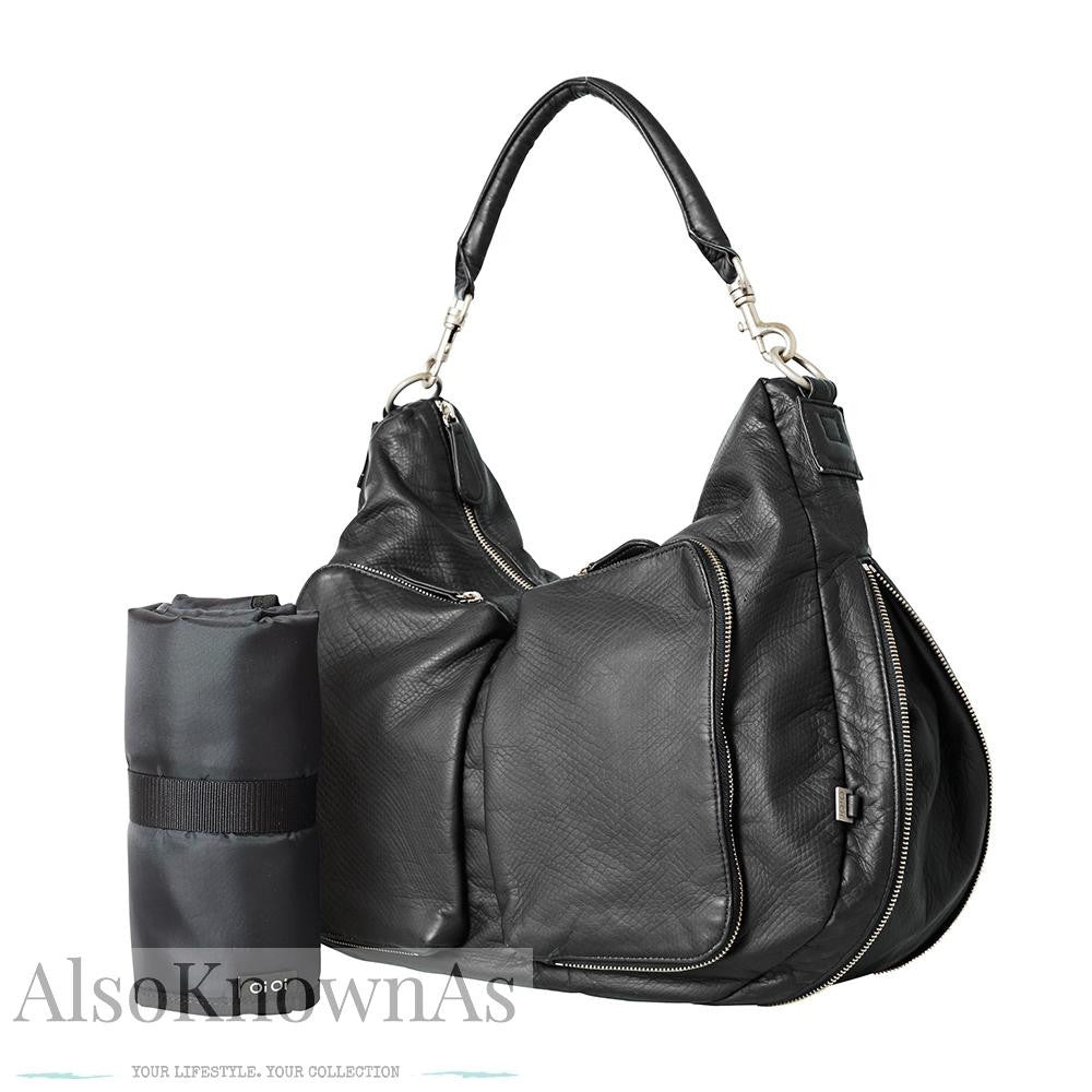 Black Faux Lizard Insulated Two Pocket Hobo Nappy Bag