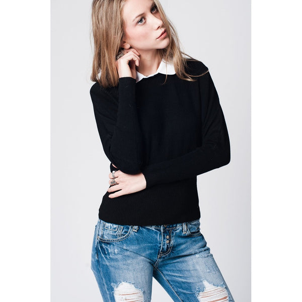 Black soft knit jersey with contrast collar and bet sleeves