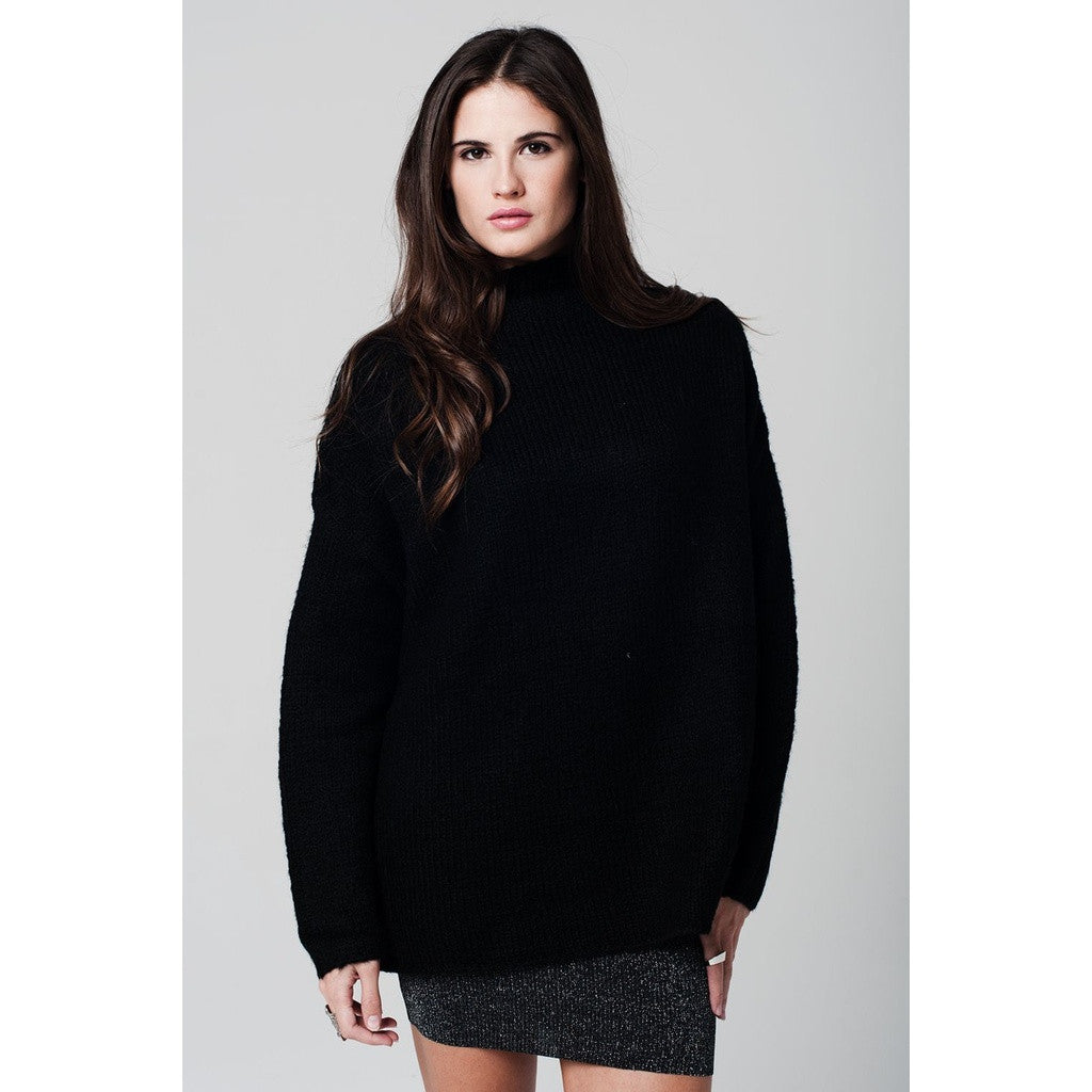 Black oversize jersey with turtle neck and dropped shoulders