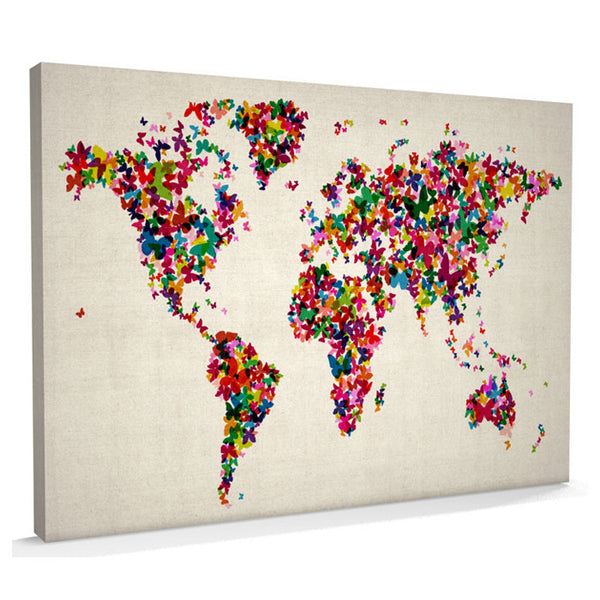 Butterflies Canvas Art Map of the World - AlsoKnownAs Lifestyle Collection