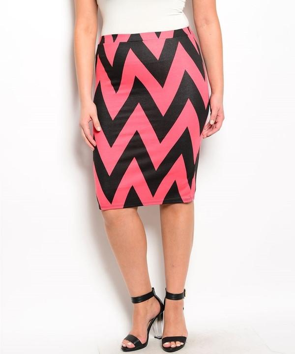 Coral & Black Chevron Skirt