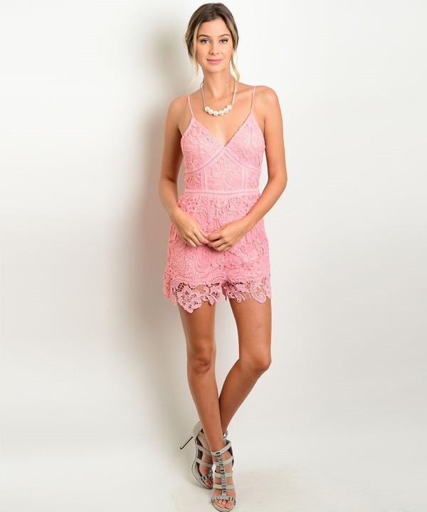 LOVELY LACE PINK ROMPER